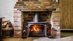 Wood burner fire lit